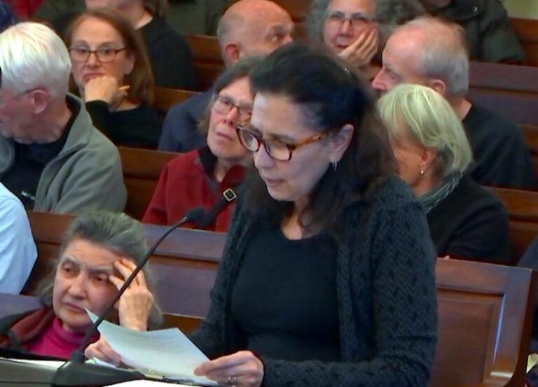 Rena Getz testifies at public hearing at Newton City Hall, Newton, MA
