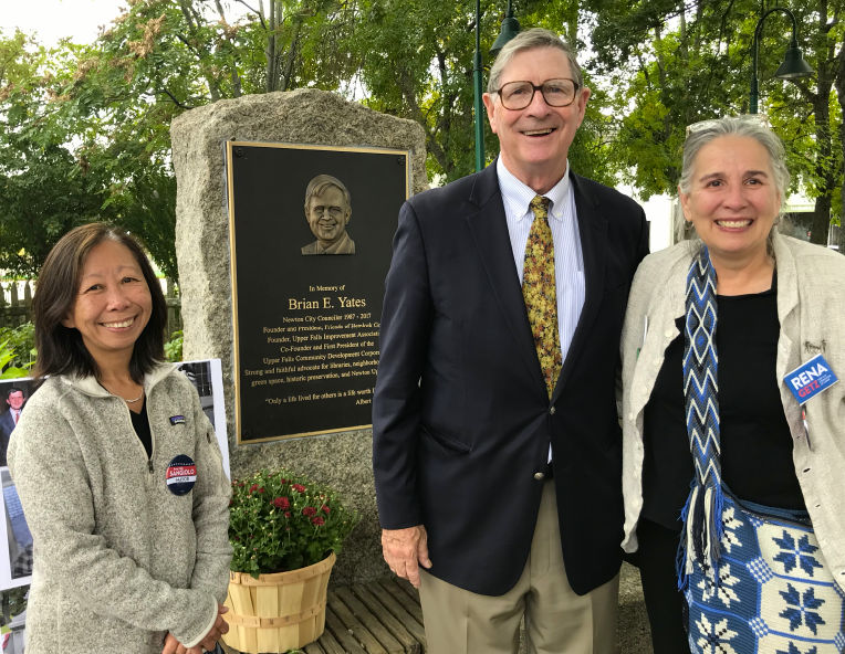 Rena Getz with Amy Sangiolo and Lisle Baker at unveiling of plaque honoring the late Brian Yates